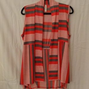 Cubism Tunic Top Size L Open Front Hi-Low Gray Red